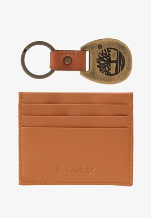 CREDIT CARD AND KEY RING GIFT SET - Business card holder - cognac