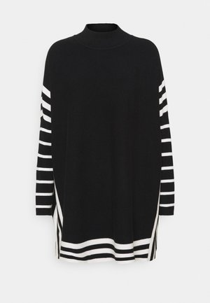 STRIPE TIPPED PONCHO - Trui - black
