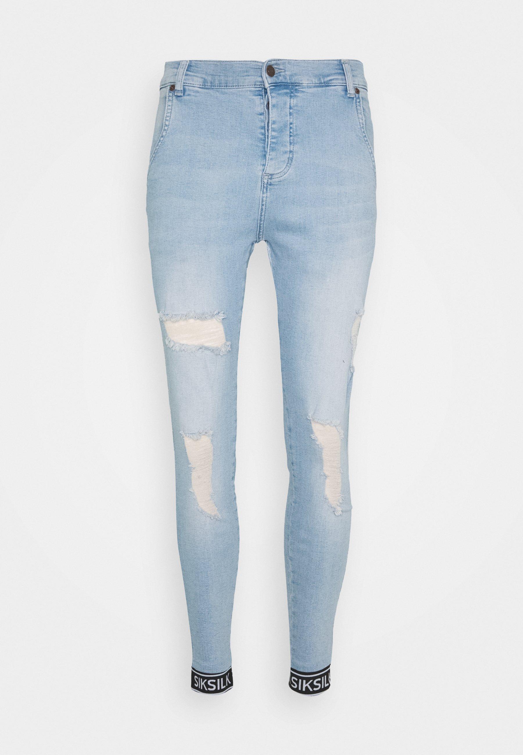 SIKSILK SKINNY CUFFED JEANS - Jeans Skinny - light blue
