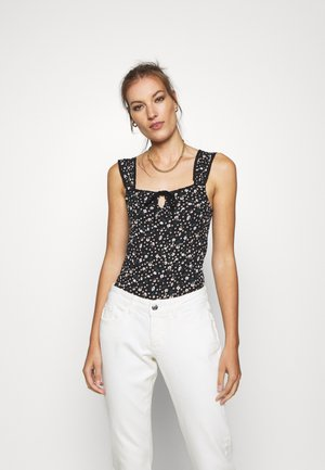 TIE FRONT DITSY - Top - black