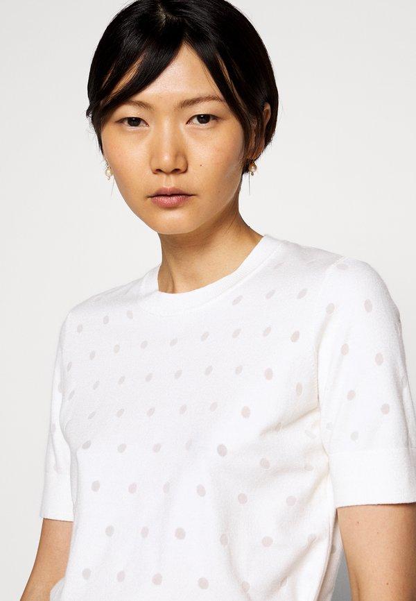 KARL LAGERFELD BURNOUT DOT - T-shirt basic - whisper white W kropki Odzież Damska BGKU HO 4