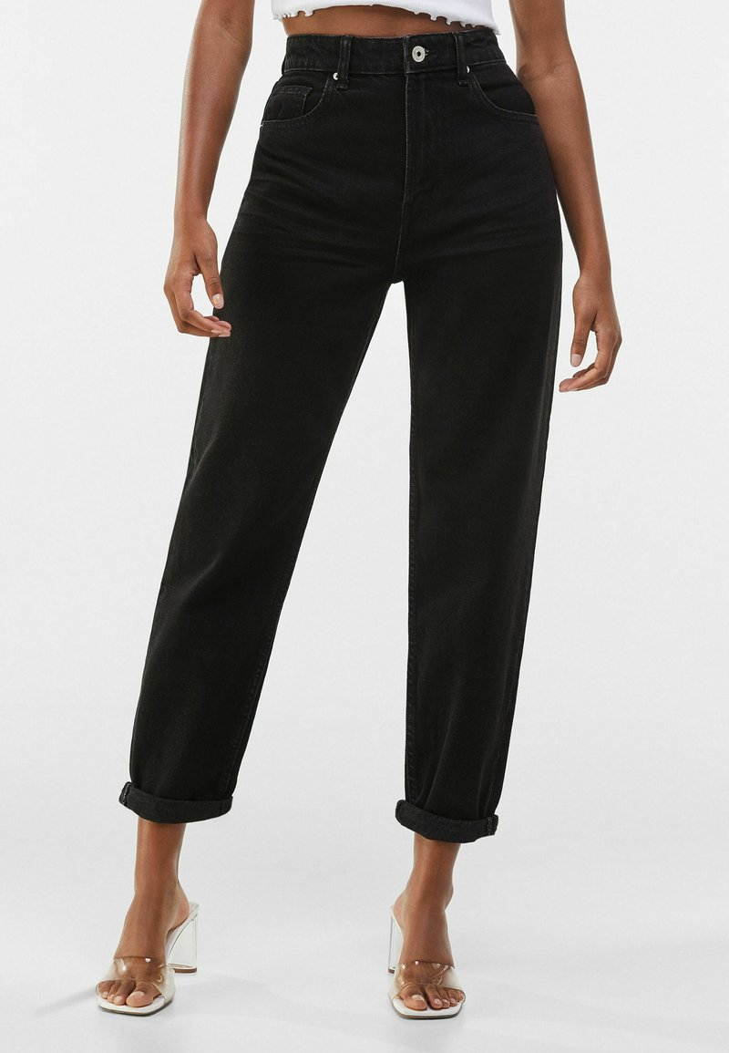 Bershka - MOM FIT - Jeansy Relaxed Fit - black