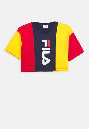 TAMSON - T-shirt imprimé - black iris/dandelion/true red