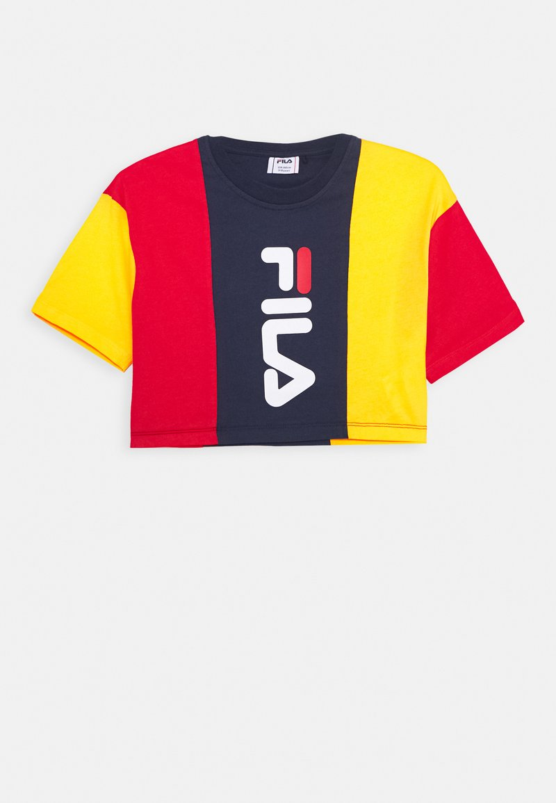 Fila - TAMSON - Print T-shirt - black iris/dandelion/true red