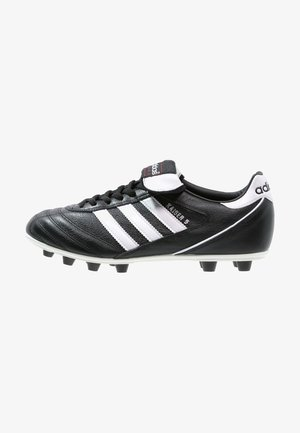 KAISER 5 LEATHER FOOTBALL BOOTS FIRM GROUND - Chaussures de foot à crampons - black/running white/rot