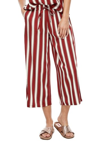 Trousers - rust red vertical stripes