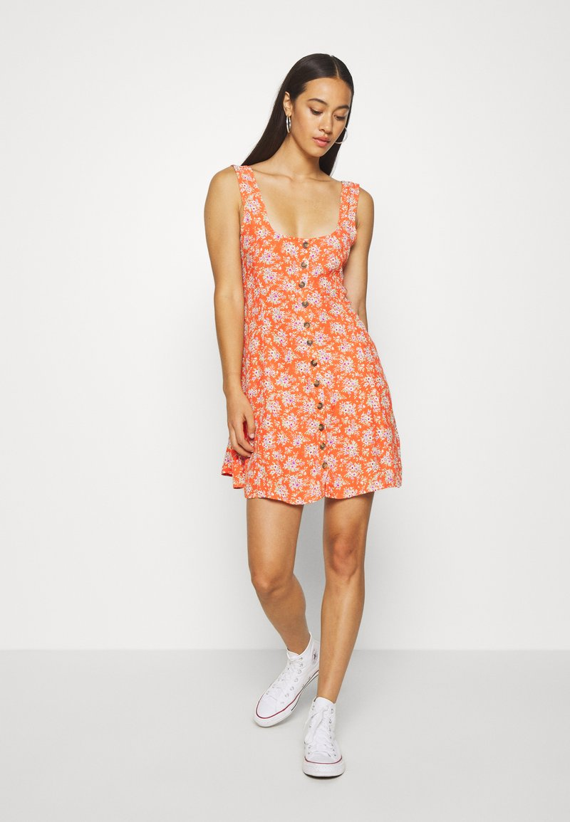 American Eagle - TIE BACK MINI DRESS - Day dress - red