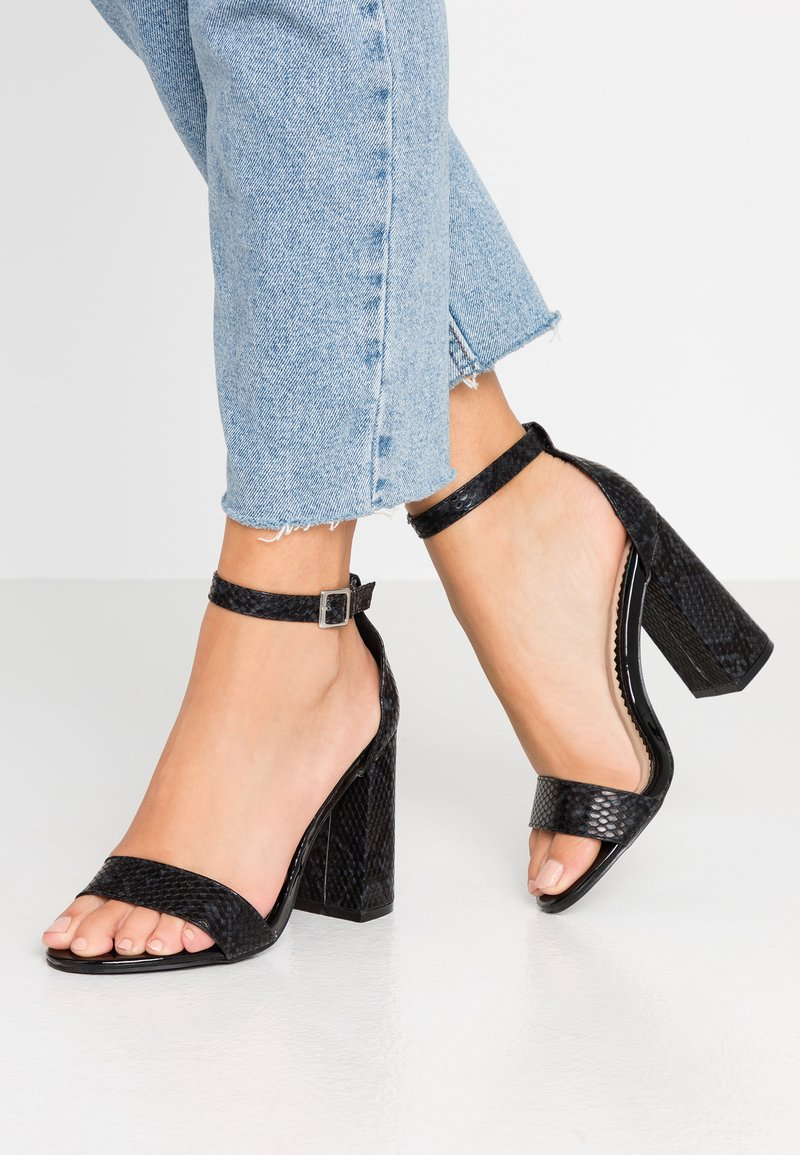 Miss Selfridge Wide Fit - WIDE FIT STEPH BLOCK HEEL BARELY THERE - High heeled sandals - black