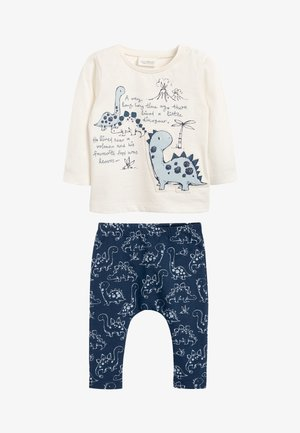 BLUE DINOSAUR T-SHIRT AND LEGGING TWO PIECE SET (0MTHS-3YRS) - Legging - white
