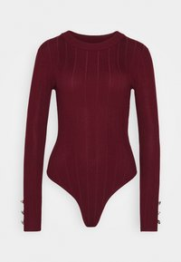 Missguided - BUTTON CUFF CREW NECK - Trui - burgundy - 4
