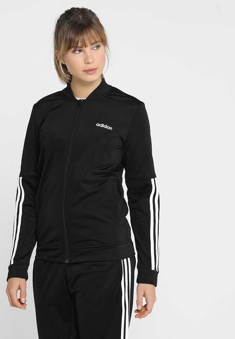adidas Performance - ESSENTIALS 3STRIPES SPORT TRACKSUIT - Tracksuit - black/white