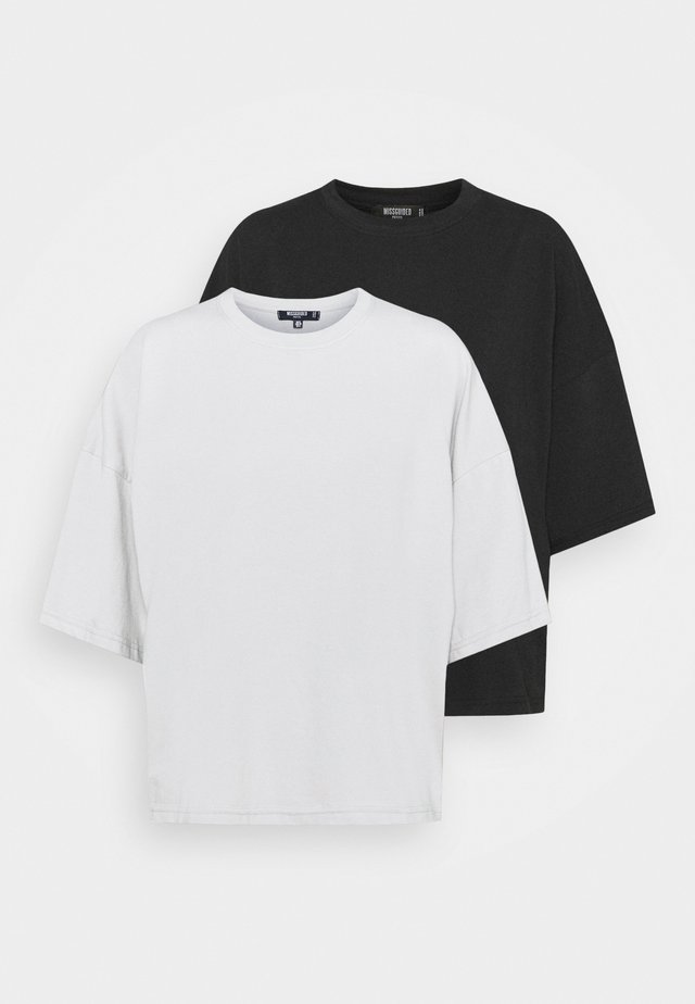 WITH TALL DROP SHOULDER OVERSIZED 2 PACK  - T-paita - grey/black