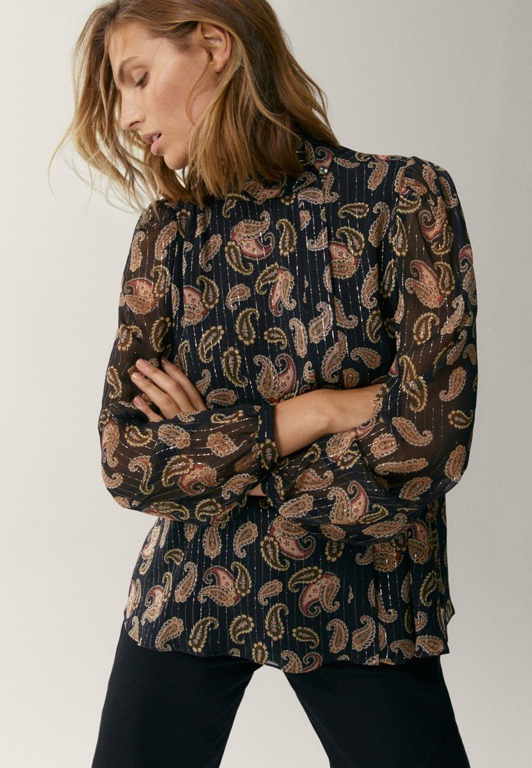 Massimo Dutti - MIT PAISLEYPRINT - Button-down blouse - black