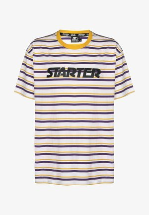 Print T-shirt - white/yellow/violet