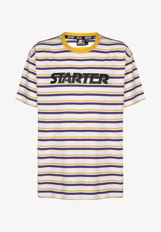 T-shirt con stampa - white/yellow/violet