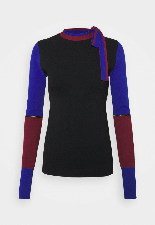 AMIS  - Trui - black/cobalt/burgundy