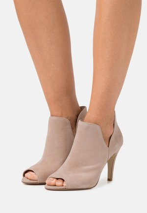 LEATHER - High heeled ankle boots - beige