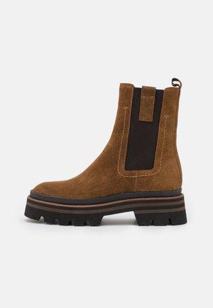 ASPEN - Platform ankle boots - cognac