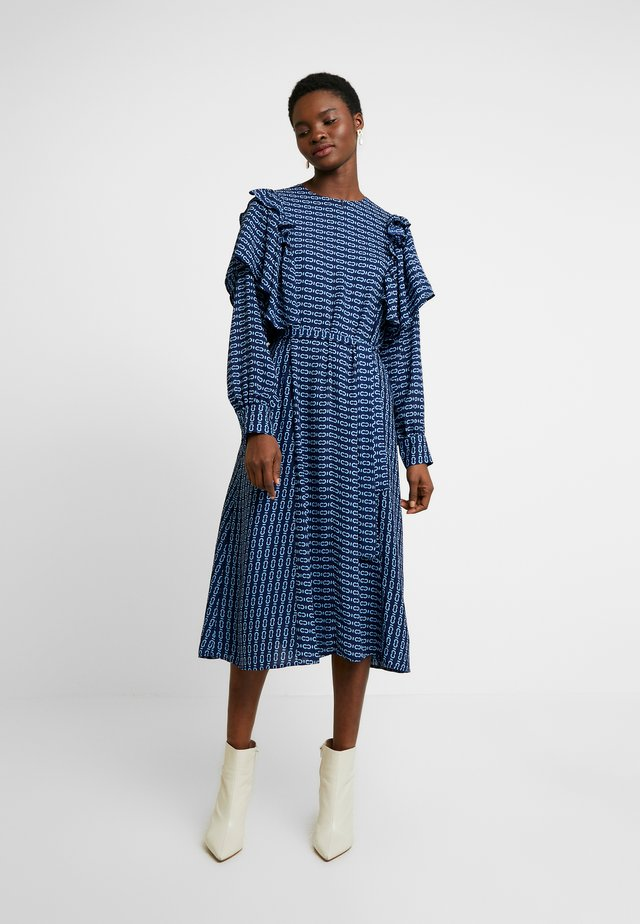 SAGACRAS - Day dress - navy monogram