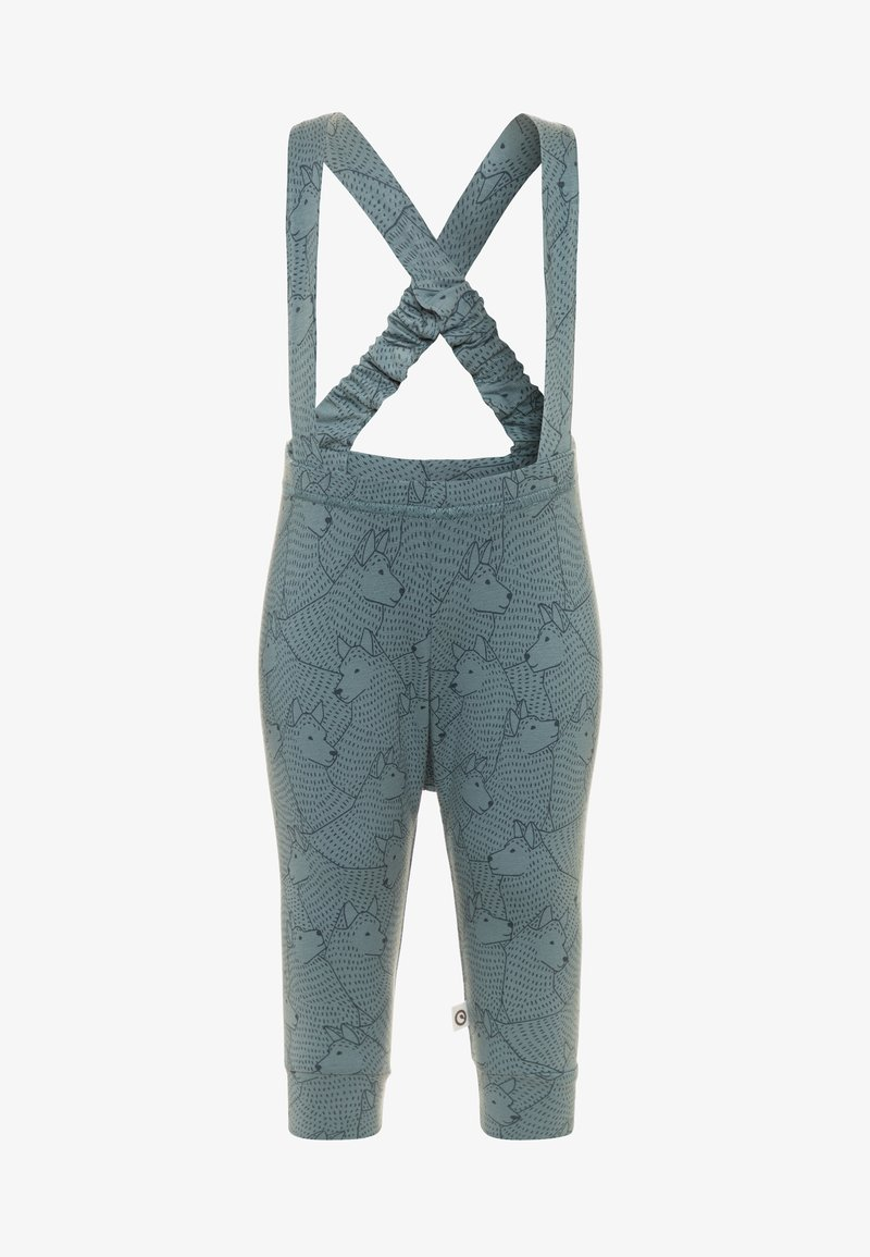 Müsli by GREEN COTTON - WOLF SUSPENDERS PANTS - Kangashousut - lagoon green