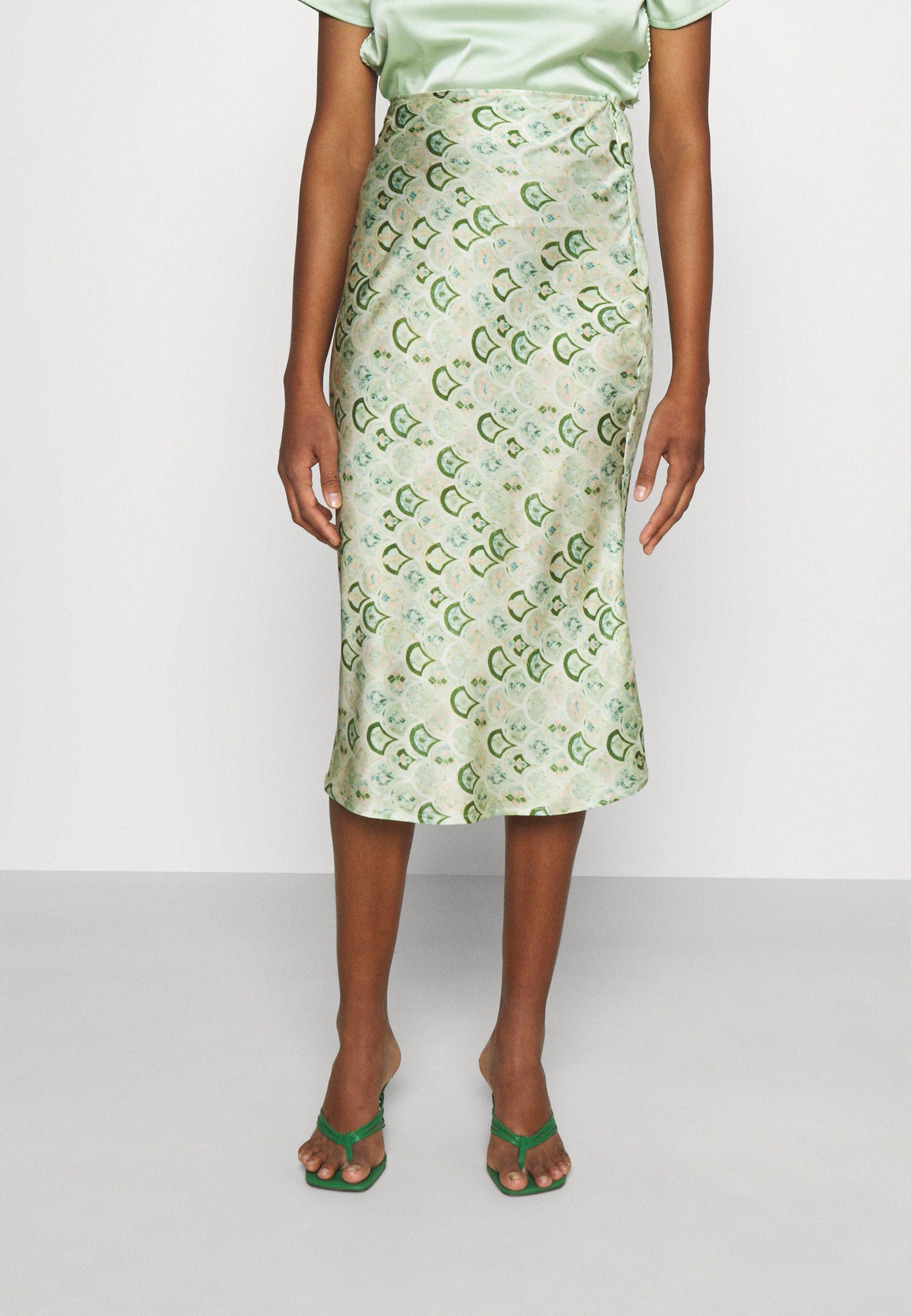Women MARBLE PRINT SLIP SKIRT - Pencil skirt