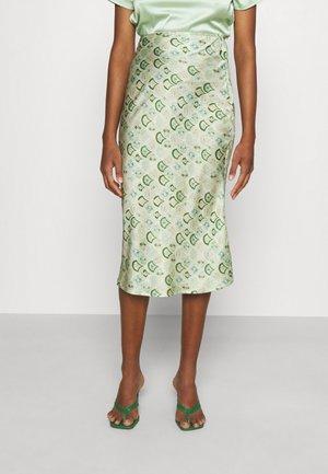 MARBLE PRINT SLIP SKIRT - Falda de tubo - green