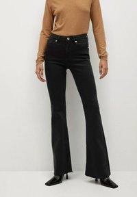 Mango - FLARE - Flared Jeans - black denim - 0