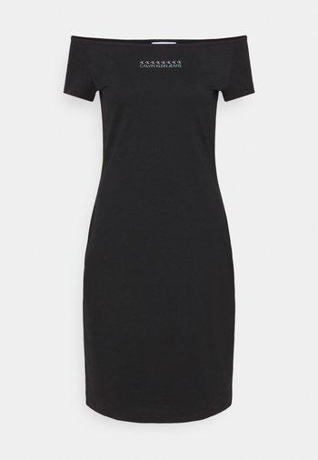 SHINE LOGO BARDOT NECKLINE DRESS - Žerzejové šaty - black