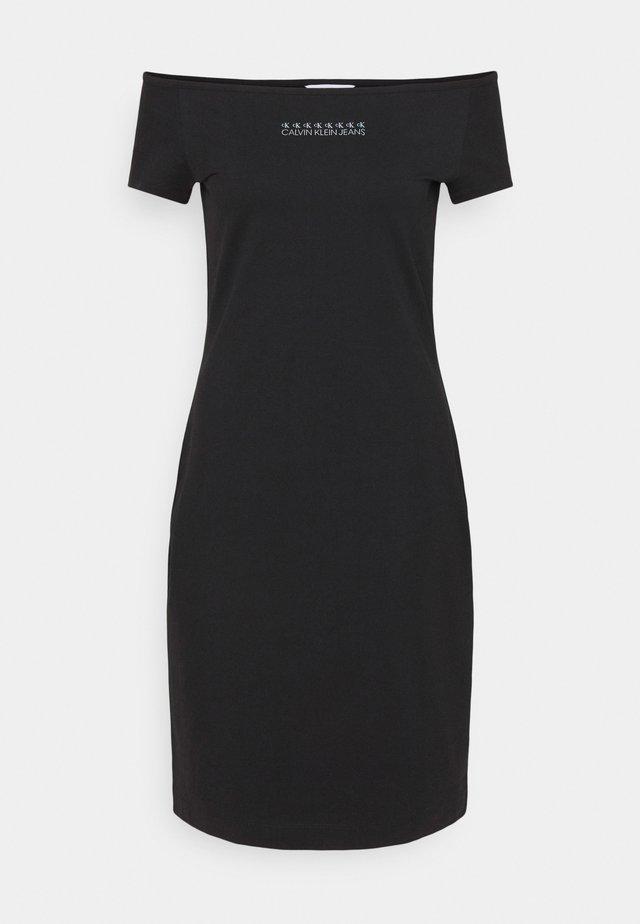 SHINE LOGO BARDOT NECKLINE DRESS - Sukienka z dżerseju - black