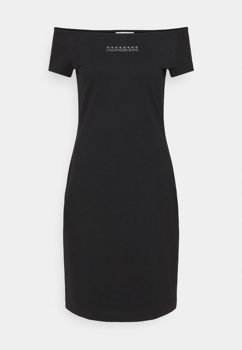 Calvin Klein Jeans - SHINE LOGO BARDOT NECKLINE DRESS - Jersey dress - black