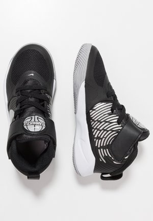 TEAM HUSTLE 9 UNISEX  - Basketball shoes - black/metallic silver/wolf grey/white