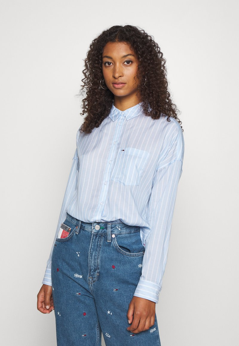 Tommy Jeans - BOLD STRIPE - Button-down blouse - white/moderate blue