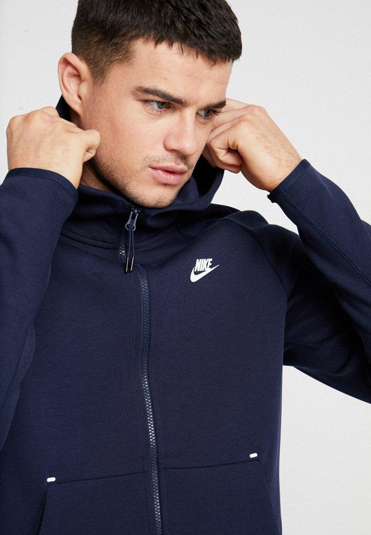 Nike Sportswear Tech Fullzip Hoodie - Hettejakke Obsidian/white/mørkeblå