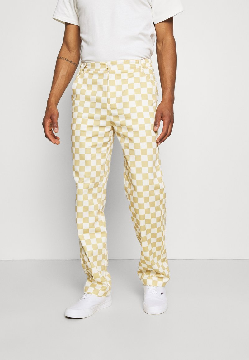 Vintage Supply - CHECKERBOARD PANT UNISEX - Stoffhose - offwhite