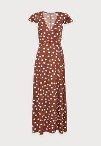 WRAP MIDI DRESS - Day dress - brown/white