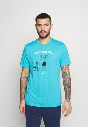 TEE CANT FAKE IT - Camiseta de deporte - chlorine blue