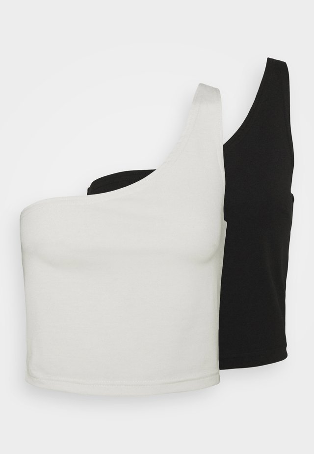 SUSTAINABLE ONE SHOULDER 2PACK - Débardeur - black/ sugar swizzle