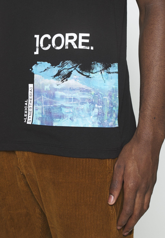 Jack & Jones JCORICCO TEE CREW NECK - Print T-shirt - black QdJ6c