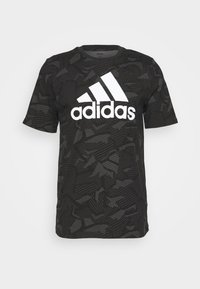 adidas Performance - ESSENTIALS SPORTS SHORT SLEEVE GRAPHIC TEE - Print T-shirt - black/white - 0