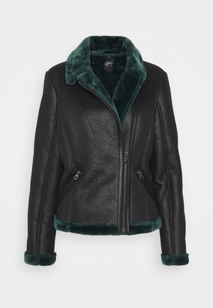 BRIGID  - Faux leather jacket - black/green