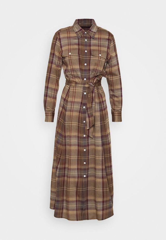 LONG SLEEVE CASUAL DRESS - Maxi dress - brown/blue