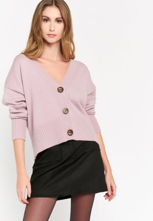 WITH LARGE WOOD-LOOK BUTTONS - Cardigan - purple