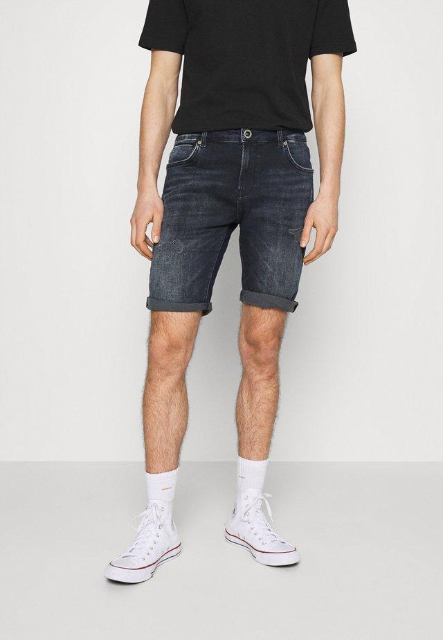 ORLANDO DAMAGED - Jeansshort - blue black