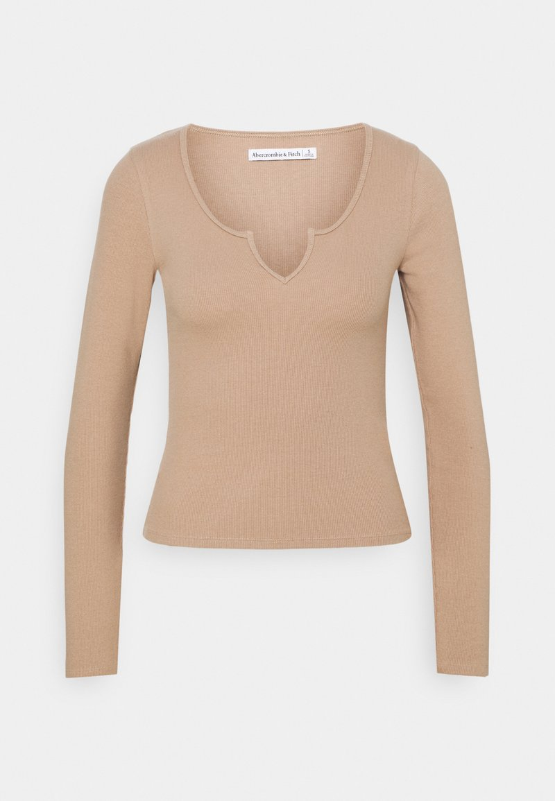 Abercrombie & Fitch - NOTCH NECK CHASE  - Long sleeved top - brown