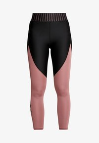 Under Armour - COLOR BLOCK GRAPHIC ANKLE CROP - Leggings - black /hushed pink - 4