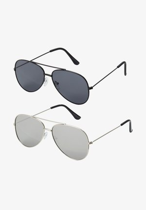 SUNGLASSES 2 PACK - Sluneční brýle - black/silver-coloured