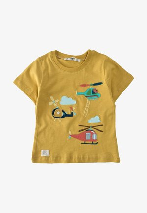 HELICOPTER EMBROIDERED  - Print T-shirt - mustard yellow