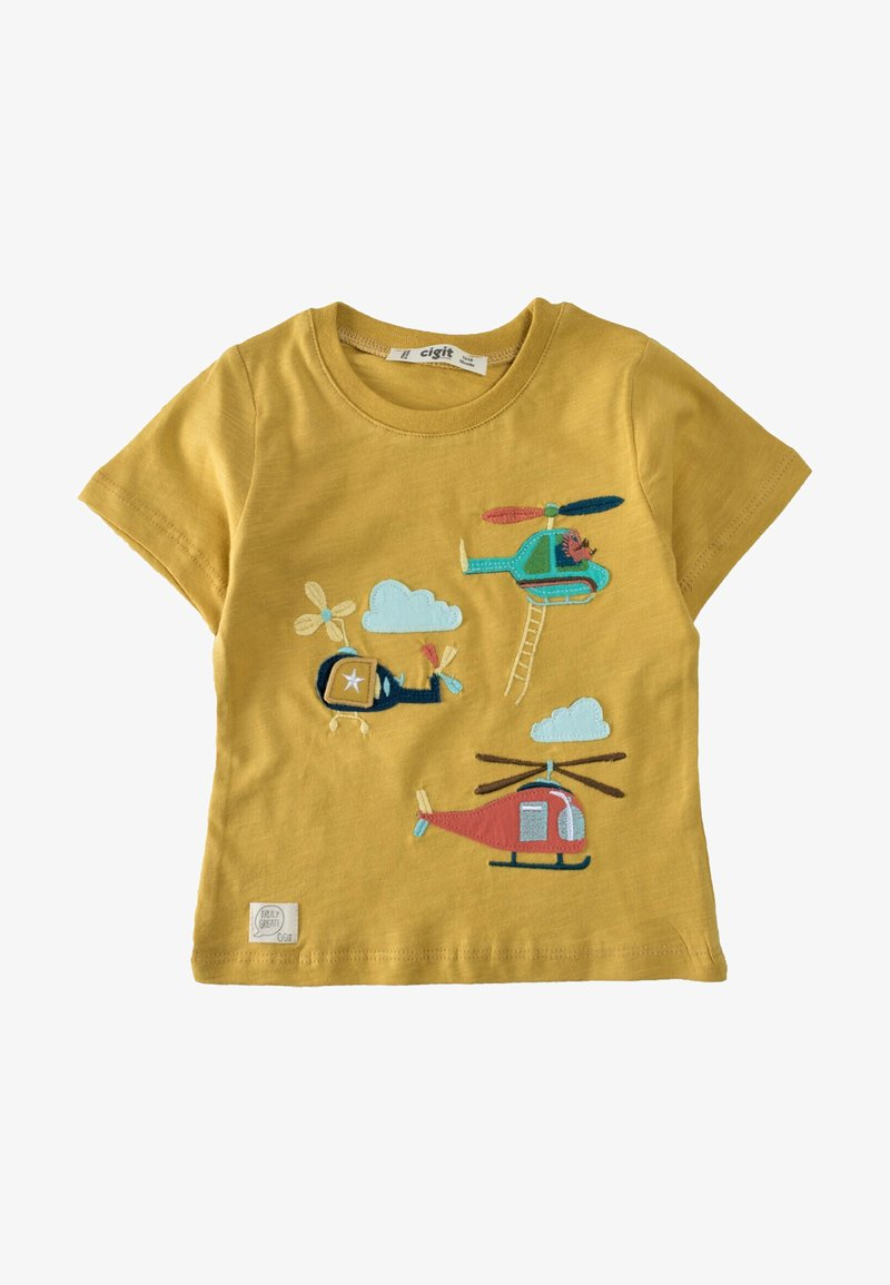 Cigit - HELICOPTER EMBROIDERED  - Print T-shirt - mustard yellow
