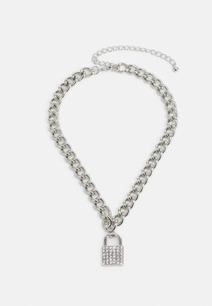 CRYSTAL PADLOCK NECKLACE - Necklace - silver-coloured