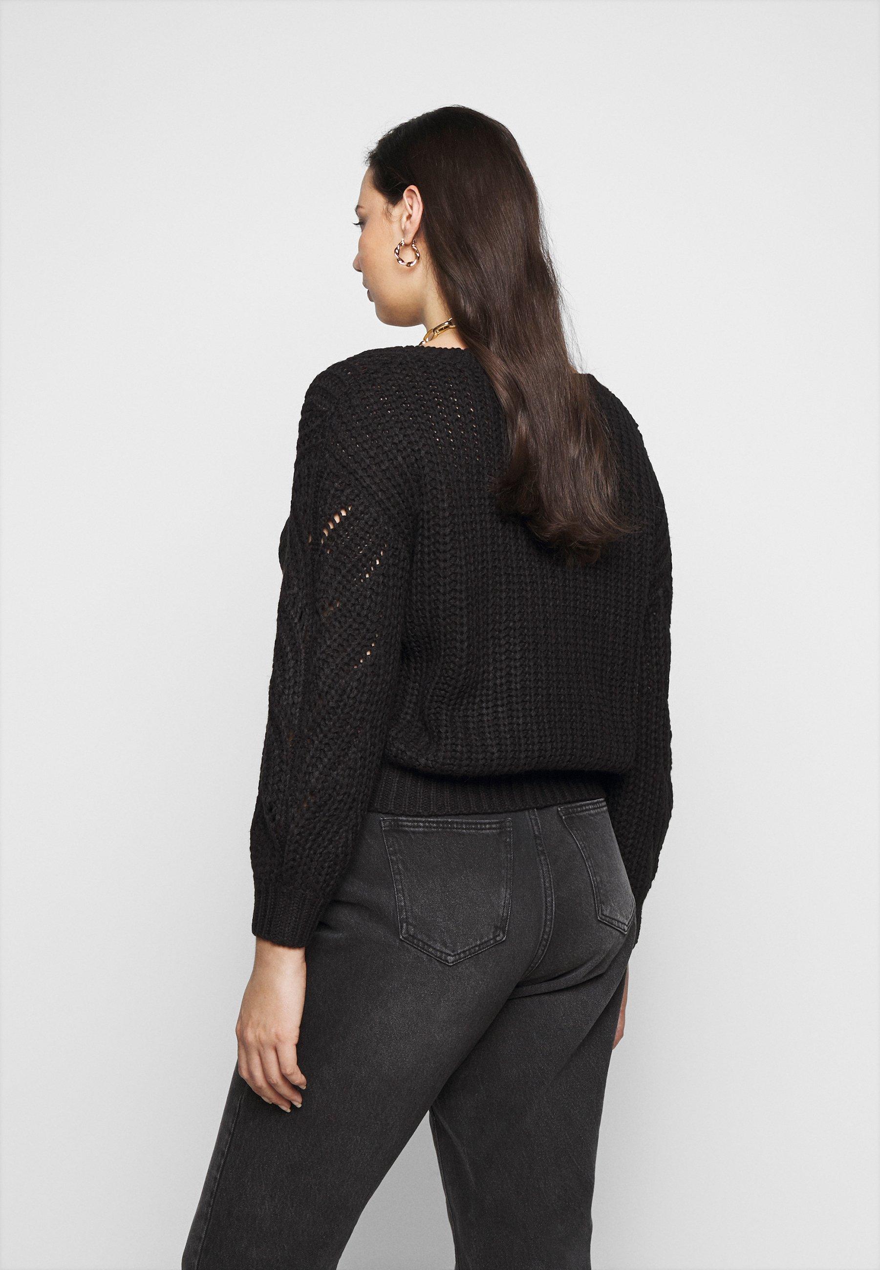 Pieces Curve PCRACHEL CARDIGAN - Vest - black - Dames jas Actueel
